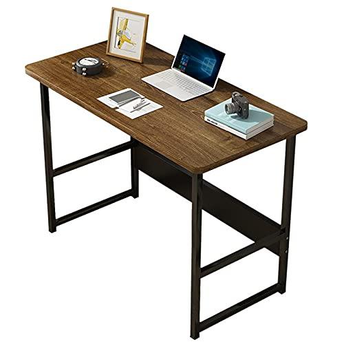 Escritorio de computadora Mesa de estudio de la oficina en casa para espacio pequeño Escritorio rústico para PC para estudiantes Estación de trabajo portátil Marco de metal negro 31,5 pulgadas marrón