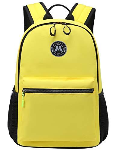 Mygreen Schultaschen für Jungen und Mädchen Rucksack Solid Farbig Klassischer Rucksack Studenten Teenager Bookbag Casual Daypack lässinger Rucksack Gelb