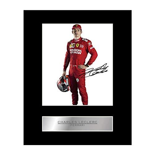 Foto firmada de Charles Leclerc Ferrari #4 con foto de regalo autografiada