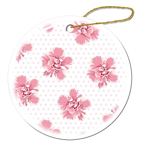 happygoluck1y Pink Camelia Flowers Seamless Pattern Tree Petals Round Ceramic Ornaments for Girls,for Hers,for Wife,Wedding Christmas Ornaments