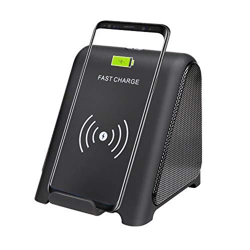 TPLISAK Cargador inalámbrico con Altavoz Bluetooth 2 en 1 Reproductor de Audio 10 W Soporte de Carga rápida Compatible para Samsung S9 S9+ S8 S8+ S7 S6 Note 8 9 iPhone X XS MAX XR 8+ (Negro)