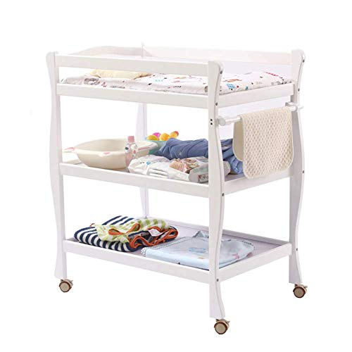 CHYEC Wickeltisch Weiß, Newborn Diaper Station Dresser mit Rollen & Pad, tragbarer Kindergarten-Organizer aus Holz für Kleinkinder