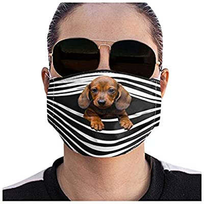 Missli Novelty Dogs Print Face Mask Bandanas, 3D Printed Reusable Mouth Covering, Fashion Protective, Washable, Breathing, Full Face Anti Dust (E)