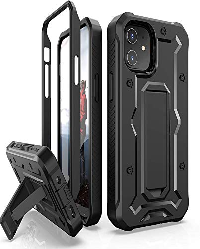 ArmadilloTek Vanguard Case Compatible with iPhone 12 Mini (5.4 inches) Military Grade Full-Body Rugged with Built-in Kickstand [Screenless Version] - Black