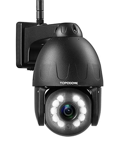 Telecamera Sicurezza PTZ WiFi 5MP Esterna, TOPODOME Telecamera di Sorveglianza, 5x Zoom Ottico, Visione Notturna Colori fino a 40m, Rilevamento Umanoide, Audio a 2 Vie, Slot per Scheda SD, IP66 Nero