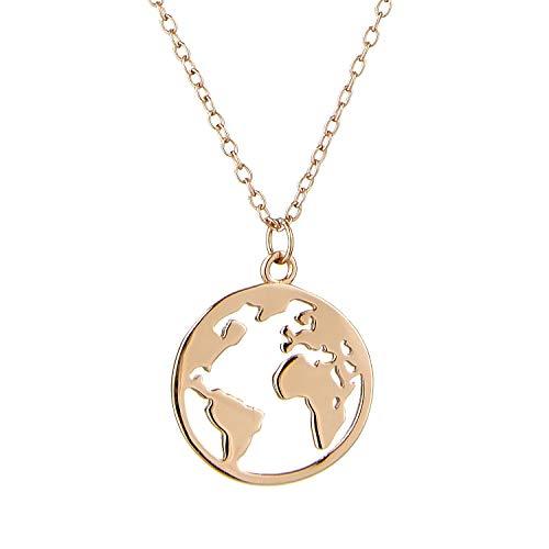 Brandlinger ® Atelier Kette Weltkugel aus vergoldetem 925 Sterling Silber. Damen Goldkette mit Kettenlänge 40 cm + 5 cm
