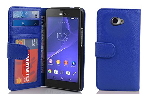 Cadorabo Hülle für Sony Xperia M2 / M2 Aqua in Neptun BLAU – Handyhülle mit Magnetverschluss & 3 Kartenfächern – Hülle Cover Schutzhülle Etui Tasche Book Klapp Style