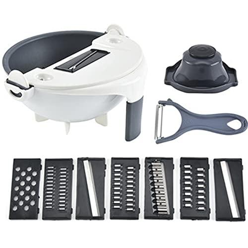 XIGU Mandoline Slicer Cortador de verduras, cortador multifunción de rábano, trituradora de patatas, rallador de cebolla, cocina para el hogar y la hoja duradera afilada