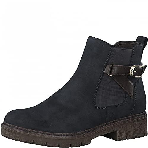 Tamaris Damen Stiefeletten, Frauen Chelsea Boots,TOUCHit-Fußbett,uebergangsstiefel,Schlupfstiefel,flach,Boots,Stiefel,Bootee,Navy Comb,42 EU / 8 UK