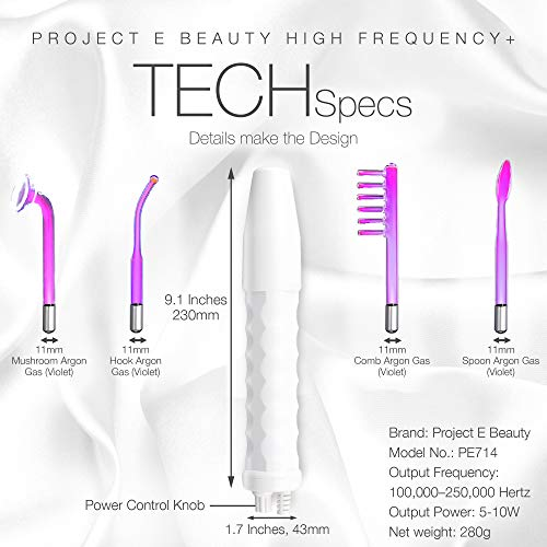 Project E Beauty D'arsonval High Frequency Wand Argon Gas | Purple Violet Beauty Skin Care Acne Spot Pimple Removal Remover Skin Face Tightening Lifting Puffy Eyes Therapy Facial Portable Device