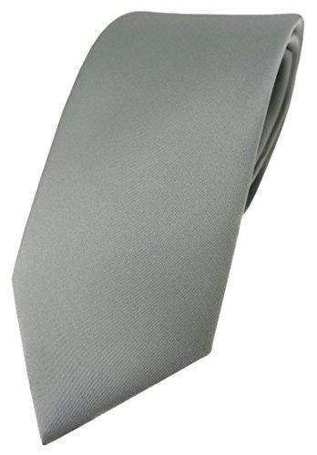 TigerTie Designer Krawatte in grau einfarbig Uni - Tie Schlips