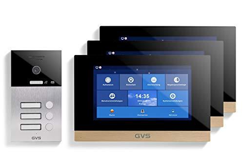 GVS AVS1082U - Videoportero IP de 4 cables, estación de puerta empotrada IP65, monitor de 3 x 10 pulgadas, App, cámara HD de 120 °, función de apertura de puerta, 32 GB de memoria, conmutador PoE, 3 unidades de casa familiar