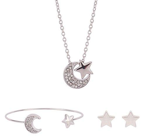 Dosering diamant zon sterren maanvorm oorbellen halsketting armband modesieraad 3-delig