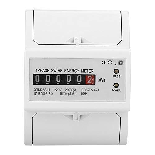 220 V DIN-Schiene Stromzähler, Digital 1 Phase Stromzähler 2 Draht 4 P, XTM75S-U Stromzähler KWh Meter(20(80) A)