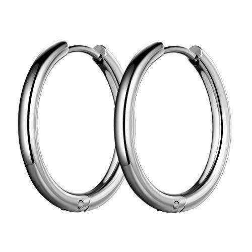 Hoop Earrings Mens 316L Stainless Steel Men Fashion 14mm Wide Hoops Earring 18k Gold/Black Gun Plated Hip-hop Streetwear Jewelry SE0005G-14