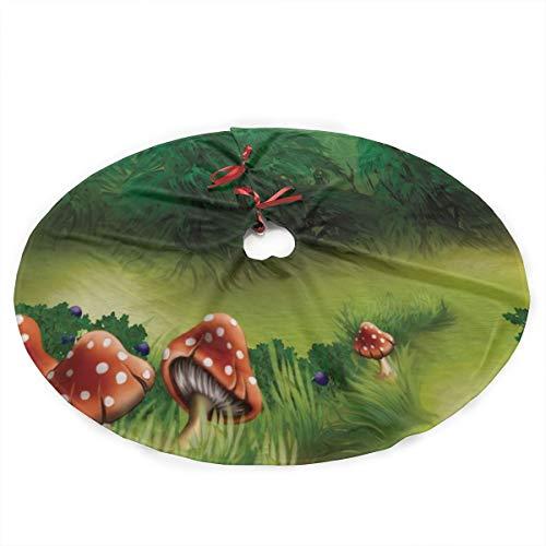 NAQUIASKI Fliegenpilze Wonderland Weihnachtsbaum Rock Schürzen Weihnachtsbaumdecke 90CM Weihnachtsbaum Bodendekoration
