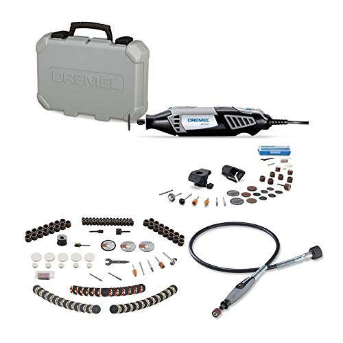 Dremel 4000-2/30 Rotary Tool Kit with 160-Piece All-Purpose Rotary Accessory Bundle and Flex-Shaft Attachment (3 Items)