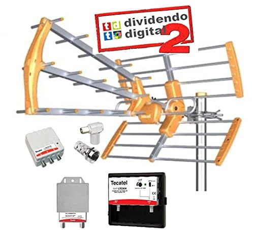 Kit Antena TECATEL BKM-15dB 4G/5H Naranja + Conjunto Amplificador Y Fuente TECATEL 304LTE Y Filtro 5G