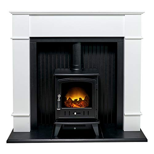 Adam Oxford Stove Suite in Pure White with Aviemore Electric Stove in Black, 48 Inch