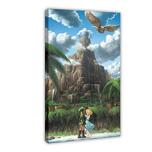 Póster de videojuego The Legend of Zelda Awakening Art Vintage Art Póster de arte arte de pared, impresión de pinturas para sala de estar o dormitorio, 60 x 90 cm, estilo de marco 1