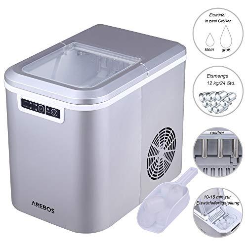 Eiswürfelmaschine, 12kg/24h, 8 Minuten Produktionszeit, 2 Eiswürfel-Größen, 2.2L, Arebos Eiswürfelbereiter, Leise, Ice Maker ohne Wasseranschluss