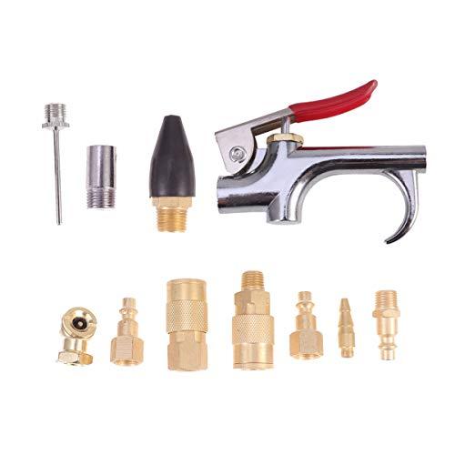 DOITOOL Kit di accessori per compressore daria da 10 pollici 1/4 npt con pistola ad aria compressa mandrini raccordi per tubo flessibile in ottone e aghi di gonfiaggio
