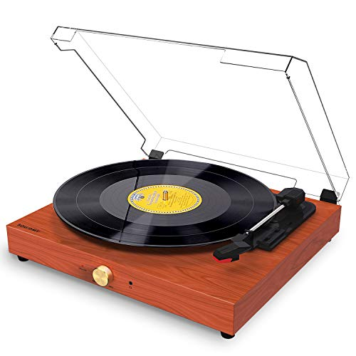 Souidmy Bluetooth Record Player for Vinyl Records, Turntable with Speakers, 3-Speed, AUX/Headphone/RCA Port, Vintage Design with Dust Cover