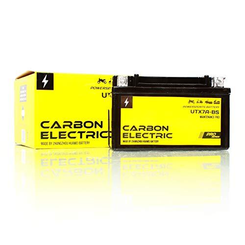 Carbon Electric AGM Batterie UTX7A-BS YTX7A-BS 12V 6Ah Wartungsfrei Versiegelt Akkumulator Motorrad Roller Motorradbatterie Rollerbatterie