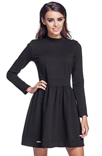 Lemoniade trendiges Kleid mit Langen Ärmeln und kurzem Rock (L (40), Modell 7 Schwarz)
