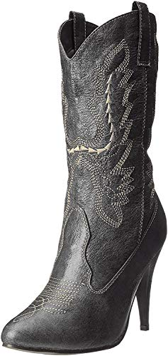 """Ellie Shoes Women's 418-COWGIRL 4"""" Heel Ankle High Black Boot 11 B(M) US"""