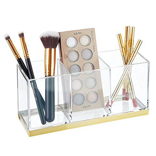 mDesign großer Make-up Halter mit 3 Fächern – praktischer Sortierkasten für Kosmetik – quadratische Schminkbox aus Kunststoff – durchsichtig und messingfarben