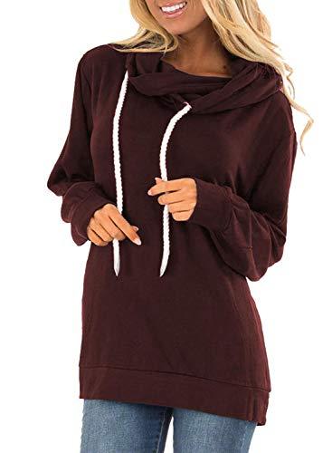 Sudadera con capucha elástica de manga larga de color sólido para mujer con cordón de cuerda