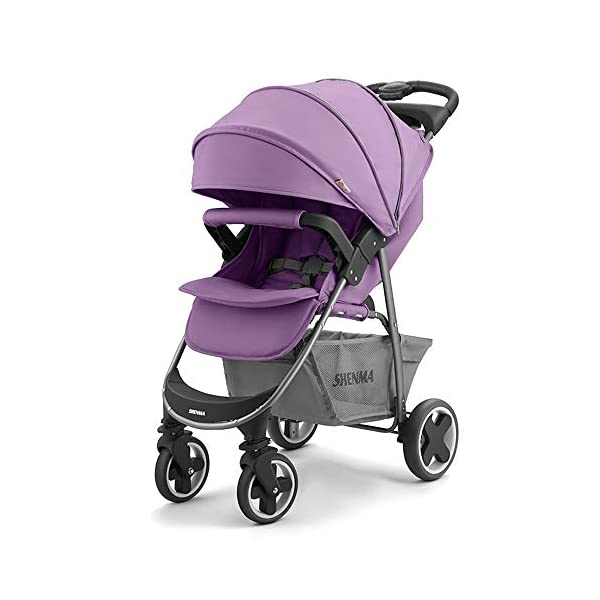 JINGQI Baby Strollers Children's Lightweight Folding Carts Baby Can Sit And Lie Down Portable Shock-Absorbing Trolleys,Suitable for Babies From 0 To 3 Years Old,Purple JINGQI Spacious seat, suitable for babies from 0 to 3 years old Sit and sleep as you wish, comfortable travel, cockpit and pedals can be adjusted Full sunshade, shelter children from wind and rain, and accompany them to travel safely 1