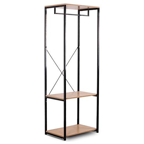 WOLTU SR0046hei-c-Perchero de pie con Zapatero (Metal y Madera), Roble Claro, ca, 60 x 40 167 cm