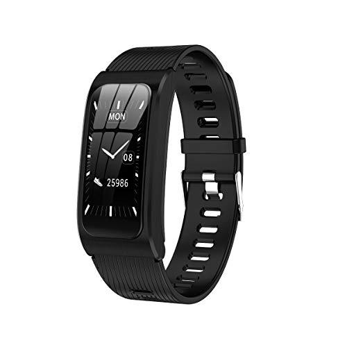 WSJZ Reloj Deportivo Inteligente,Pantalla Táctil Redonda Impermeable IP67 Pulsera Inteligente,Monitor De Actividad Física con Frecuencia Cardíaca,para iPhone/Android para Mujeres/Hombres,B