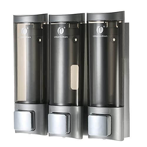 Dispensadores de jabón manuales, con Cinta de Espuma de Doble Cara, Montado en la Pared Champú de Tres Gel de Ducha Dispensadores de jabón líquido, para Cuarto de Descanso Baño, 200 ml *3