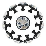 Juego de 12 tiradores para cajones de puerta de armario con tornillos para cocina, aparador, armario, baño, armario y báscula de pescado patrón de 35 mm