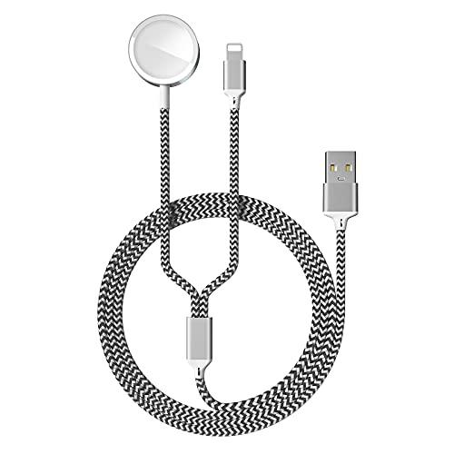 2 en 1 Cable de Carga Magnética para Apple Watch 6/SE/5/4/3/2/1, Cargador...