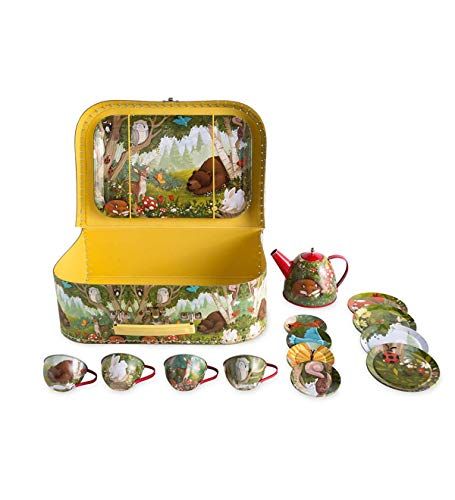 HearthSong 15-Piece Woodland-Themed Tin Tea Set, Includes Teapot, 4 Plates, 4 Cups, 4 Saucers, Serving Tray and Carrying Case