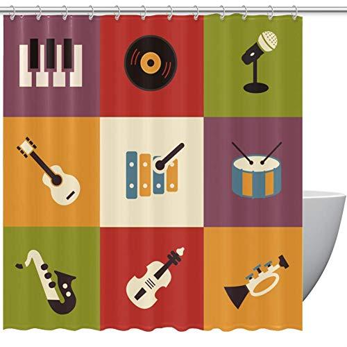 HEOEH Duschvorhang mit Instrumenten-Gitarre, niedlicher Stoff, wasserdicht, Polyester, für Badewannen-Duschen, 167,6 x 182,9 cm