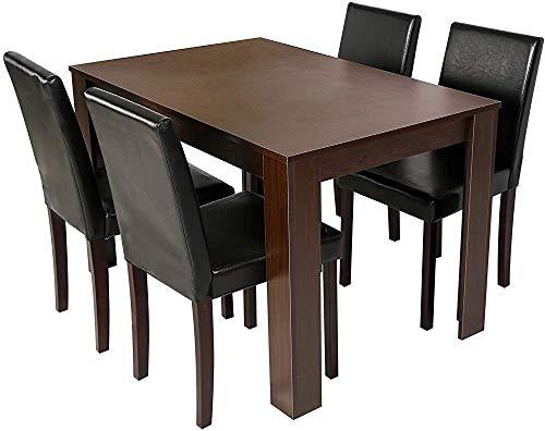 5-teiliges Esszimmer-Set 4-Sitzer Esstisch mit 4 Stühlen, Eichentisch, schwarz PU-Ledersitze,Walnut