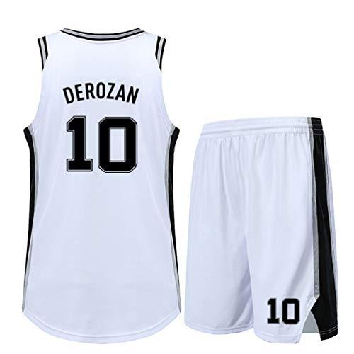SHR-GCHAO Set Basketball-Trikots, Spurs 10# DeRozan Jersey, Basketball-Anzug Für Kinder/Erwachsene, Breathable Ineinander Greifen-Weste-Spitze Shorts, Geschenk Für Fans,2XS