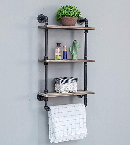 XYSQWZ Industrial pipe shelf Wall shelf with towel rail Towel holder for bathroom pipe shelves Wooden shelf shelf with solid wood (3-ply)