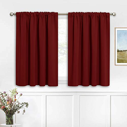 RYB HOME Blackout Curtains for Half Window Kitchen Curtains, Thermal Insulated Curtain Panels for Bedroom/Living Room, 42 x 36 inches Each Panel, Burgundy Red, 2 Panels