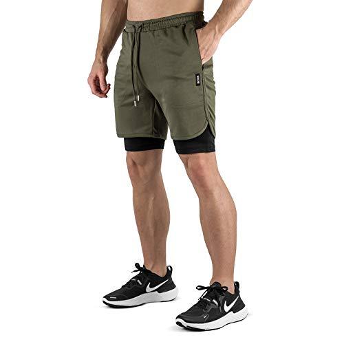 Sixlab Hybrid Shorts + Leggings Herren 2 in 1 Set Fitness Gym Running Hose (Olive/Schwarz, M)