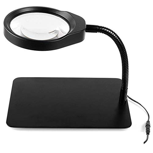WDJ3 Lupe, Lupe 10X Tischlupe, Faltbare Ringlupenleuchte Für Den Desktop, Hochauflösende High-Definition-Lesetakt Mit LED-Lampe, Pflege- Und Schnitzschmuck