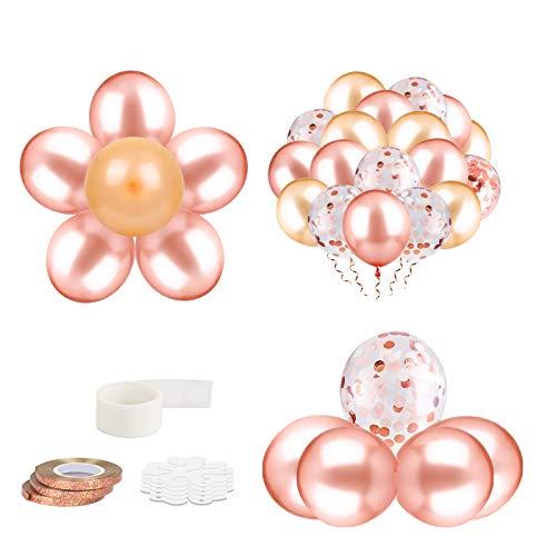 ZERHOK 50 STK Rose Gold Luftballon, 30cm Gold Latex Konfetti Ballons mit Band für Kinder Geburtstag, Hochzeit Babyparty,Geschäftstätigkeit Dekoration