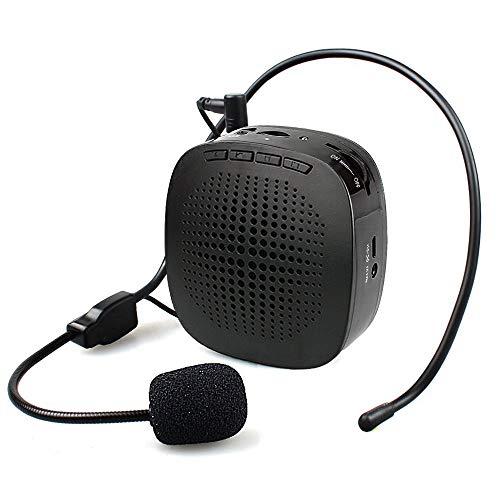 QCHEA Amplificatore vocale Ultralight Cardioid Portatile Microfono Ricaricabile Portatile con Cinturino, Supporto Scheda SD/Input AUX per Insegnanti, Allenatori, Guide turistiche, Mercato