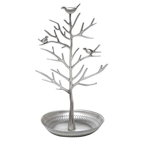 Lavcus Vögel Schmuckständer Kettenständer Baum Armbandständer Schmuckhalter Ohrringhalter Metall Schmuckaufbewahrung Schmuckbaum Damen (Silber)