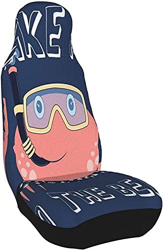 Fundas de Asiento de Coche de Cangrejo, Lindo y Divertido Slogen Sea Animal Beach Boy Buceo Submarino Criatura de Dibujos Animados Azul Fundas de Asiento Delantero Fundas de Asiento de autom